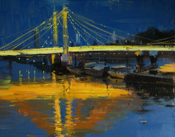 """Albert Bridge Fiery Nocturne Reflections"" original fine art by Adebanji Alade"