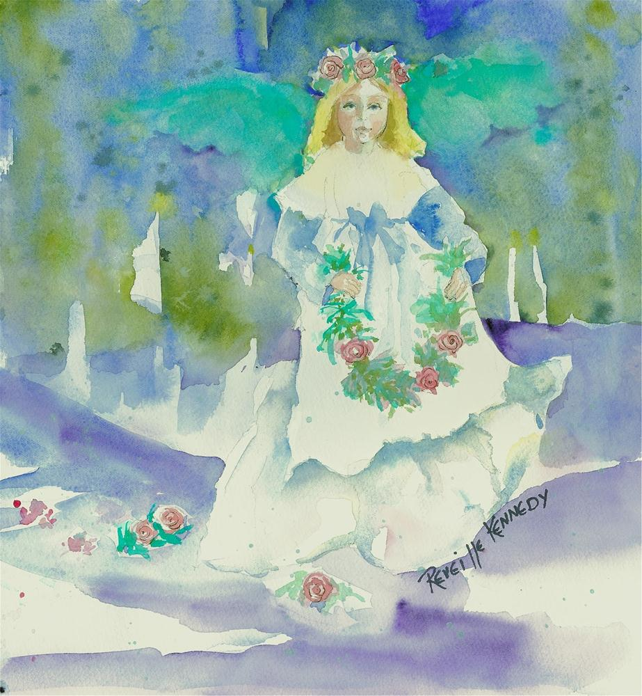 """Angel and Winter Roses"" original fine art by Reveille Kennedy"