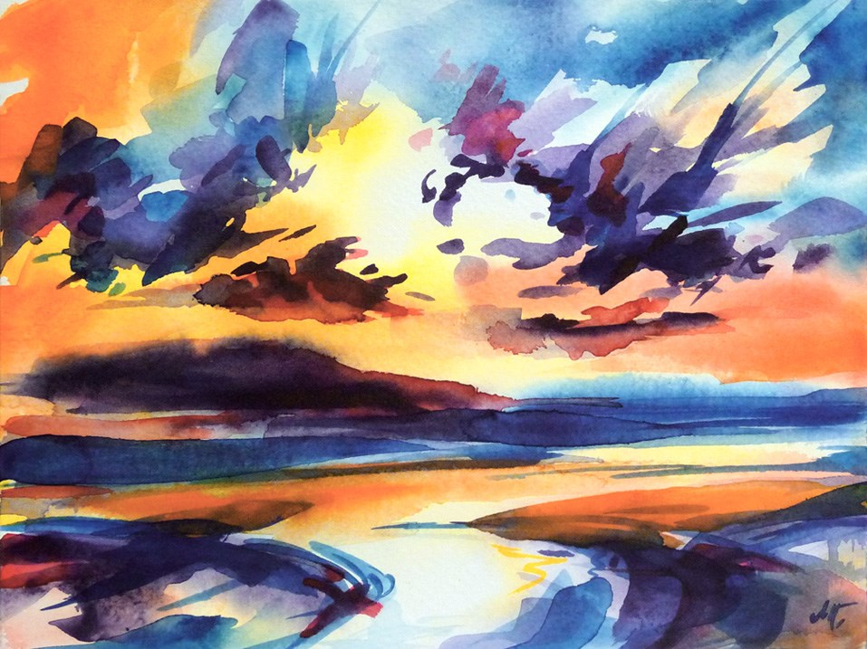 """Early in the morning on the beach"" original fine art by Mikko Tyllinen"