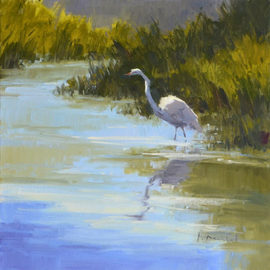 """""""Marsh Egret - American Women Artists in Scottsdale"""" original fine art by Laurel Daniel"""