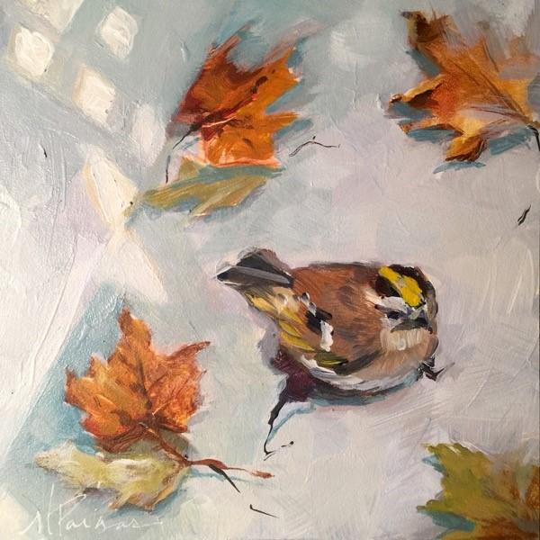 """Fall Chickadee"" original fine art by Mary Pargas"