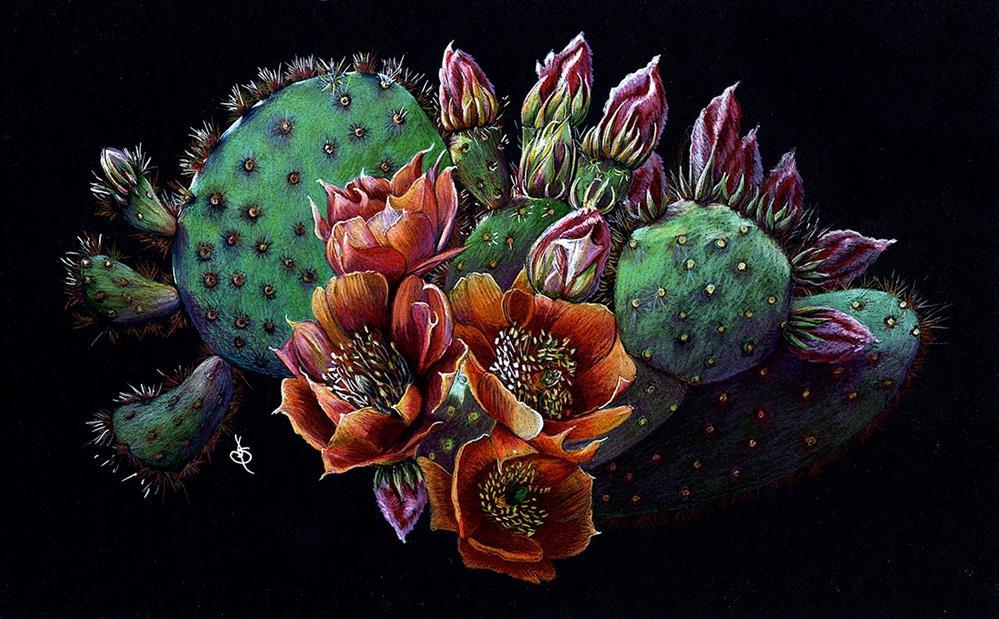 """Cactus Flower"" original fine art by Valorie Sams"