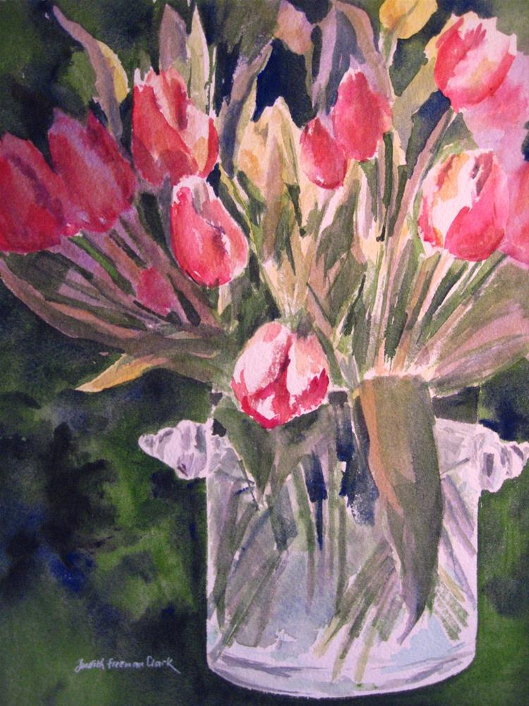 """Sunshine Tulips"" original fine art by Judith Freeman Clark"