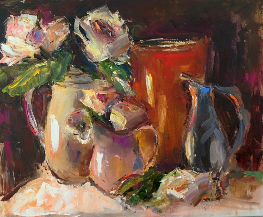 """Etude with  White Roses"" original fine art by pepa sand"