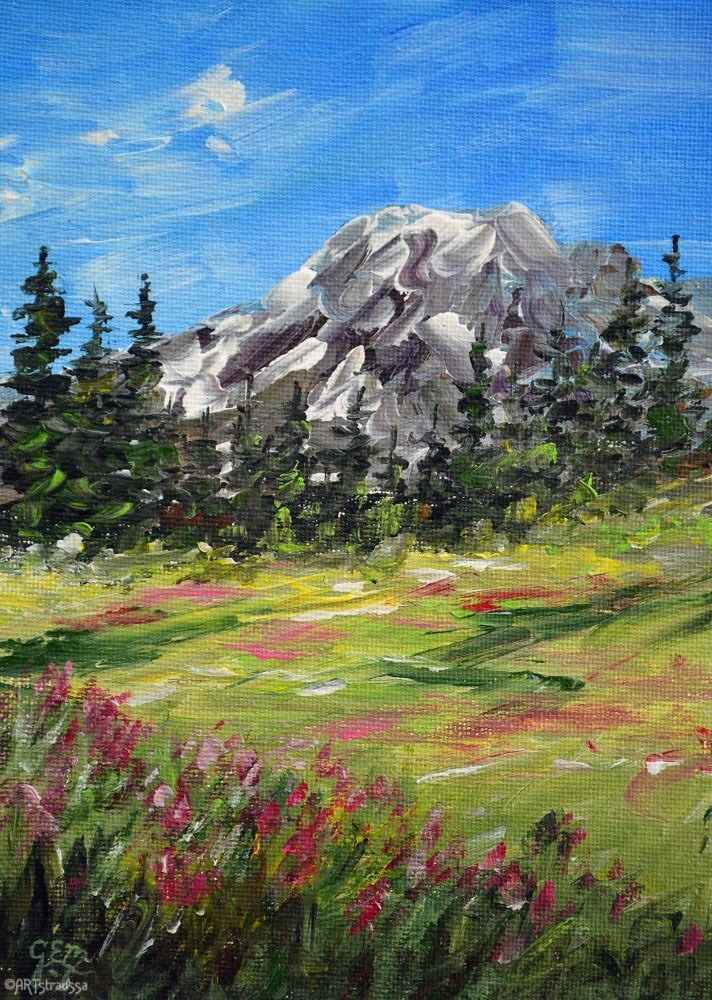 """SALE!!! Magenta Blooms By Mt. Rainier"" original fine art by Gloria Ester"