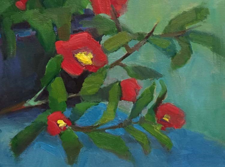 """Color Wheel Play With Camellias"" original fine art by Patti McNutt"