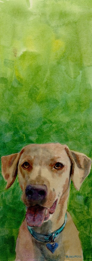 """Watercolor: Waiting to Retrieve"" original fine art by Belinda Del Pesco"