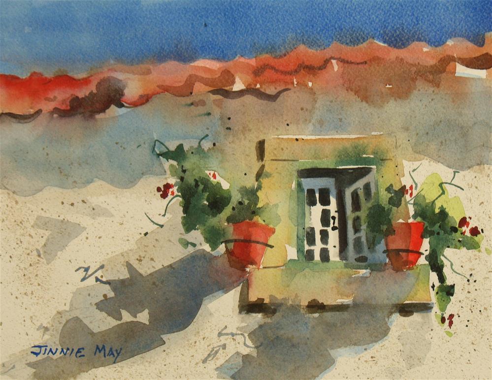 """Obidos window, Portugal"" original fine art by Jinnie May"