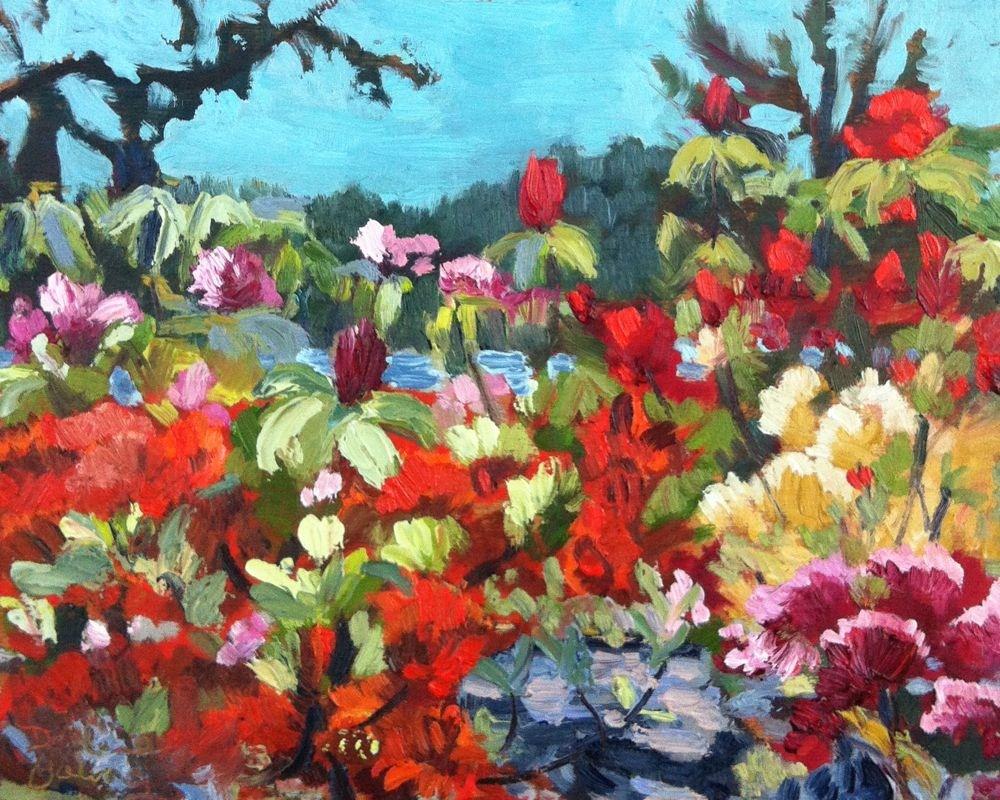 """""""Rodo Garden, oil on board, 8x10"""" original fine art by Darlene Young"""