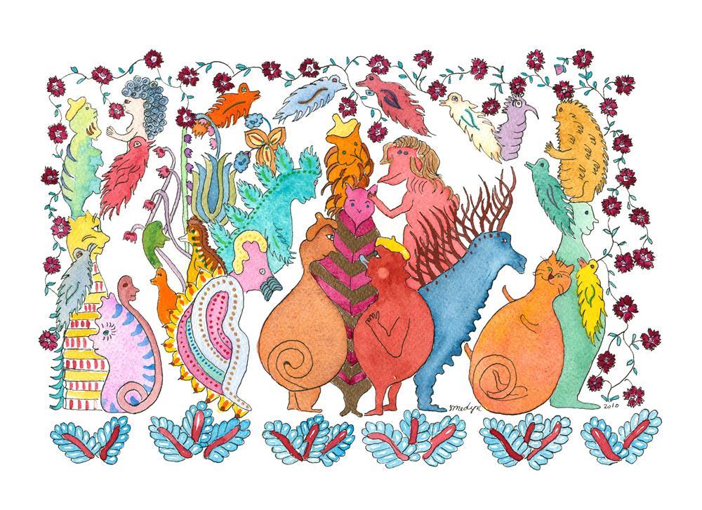 """""""Rolly Polly Cat"""" original fine art by Susan Medyn"""