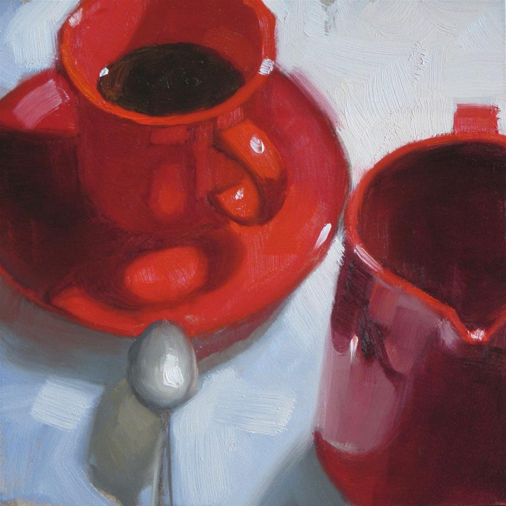 """Red cup and pitcher 6in x 6in oil"" original fine art by Claudia Hammer"
