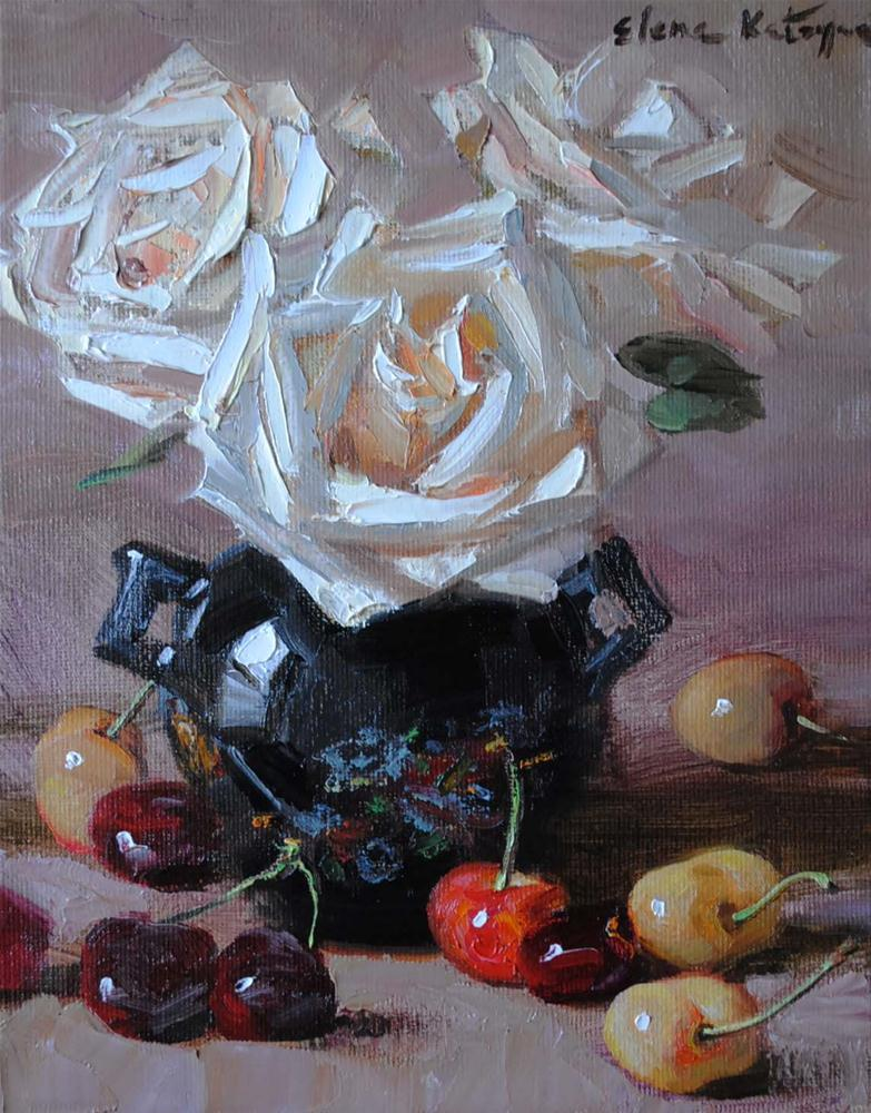 """Roses and Cherries"" original fine art by Elena Katsyura"