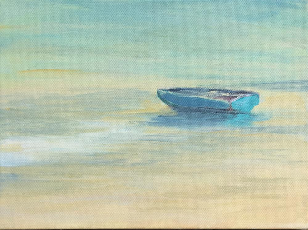 """Blue Boat Wet Beach"" original fine art by Michael Mikottis"