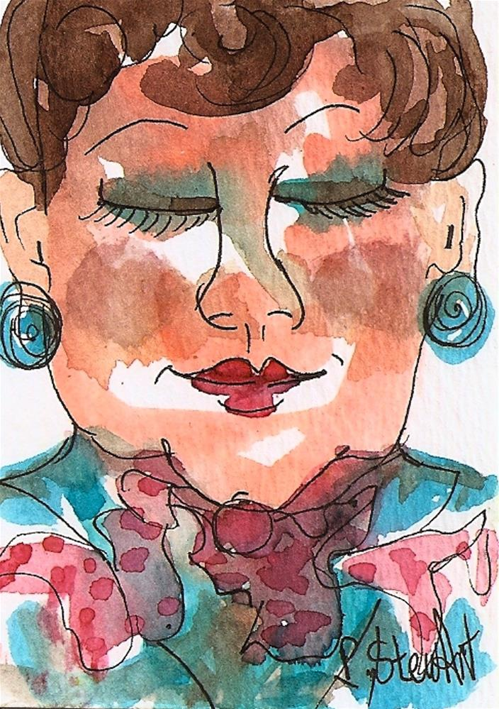 """ACEO Life is Good! Watercolor and Pen, Illustration Portrait of Older Woman"" original fine art by Penny Lee StewArt"