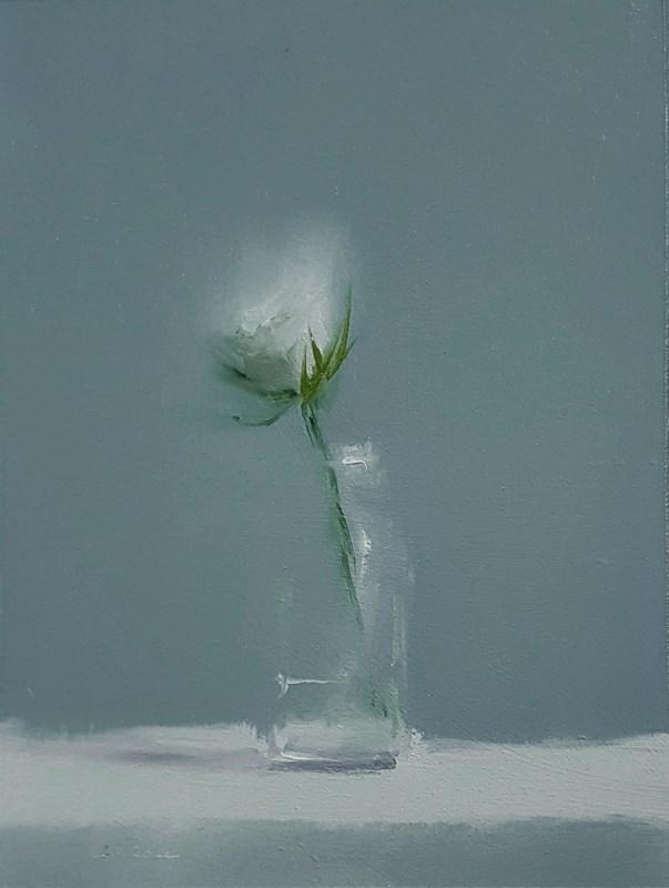 """White Flower"" original fine art by Neil Carroll"