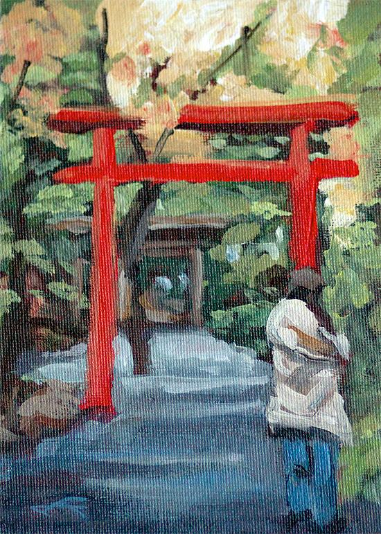 """""""Kyoto Gateway"""" original fine art by J. Farnsworth"""