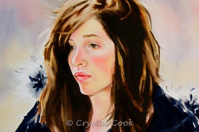 """Pensive"" original fine art by Crystal Cook"