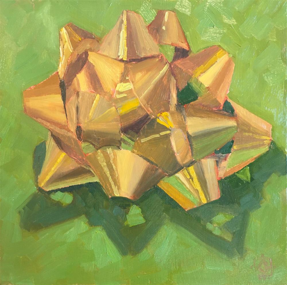 """Golden Christmas Bow"" original fine art by Carol Granger"