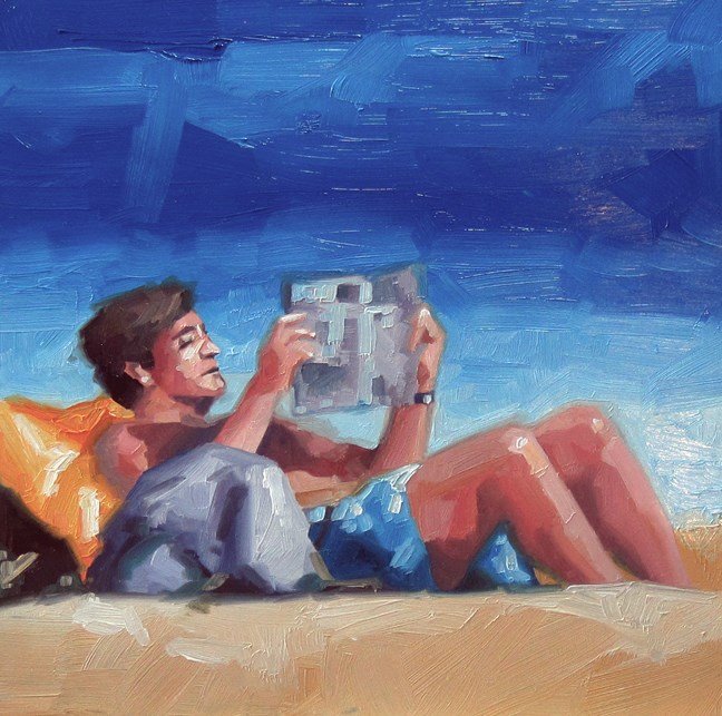 """""""No 774 Catching up on the News"""" original fine art by Robin J Mitchell"""