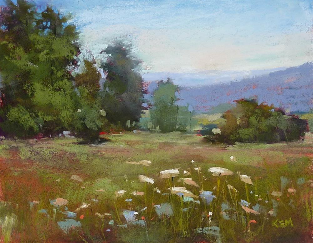 """""""Choosing the Right Pastel for Distant Mountains"""" original fine art by Karen Margulis"""