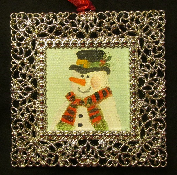 """Snowman Ornament"" original fine art by Ruth Stewart"