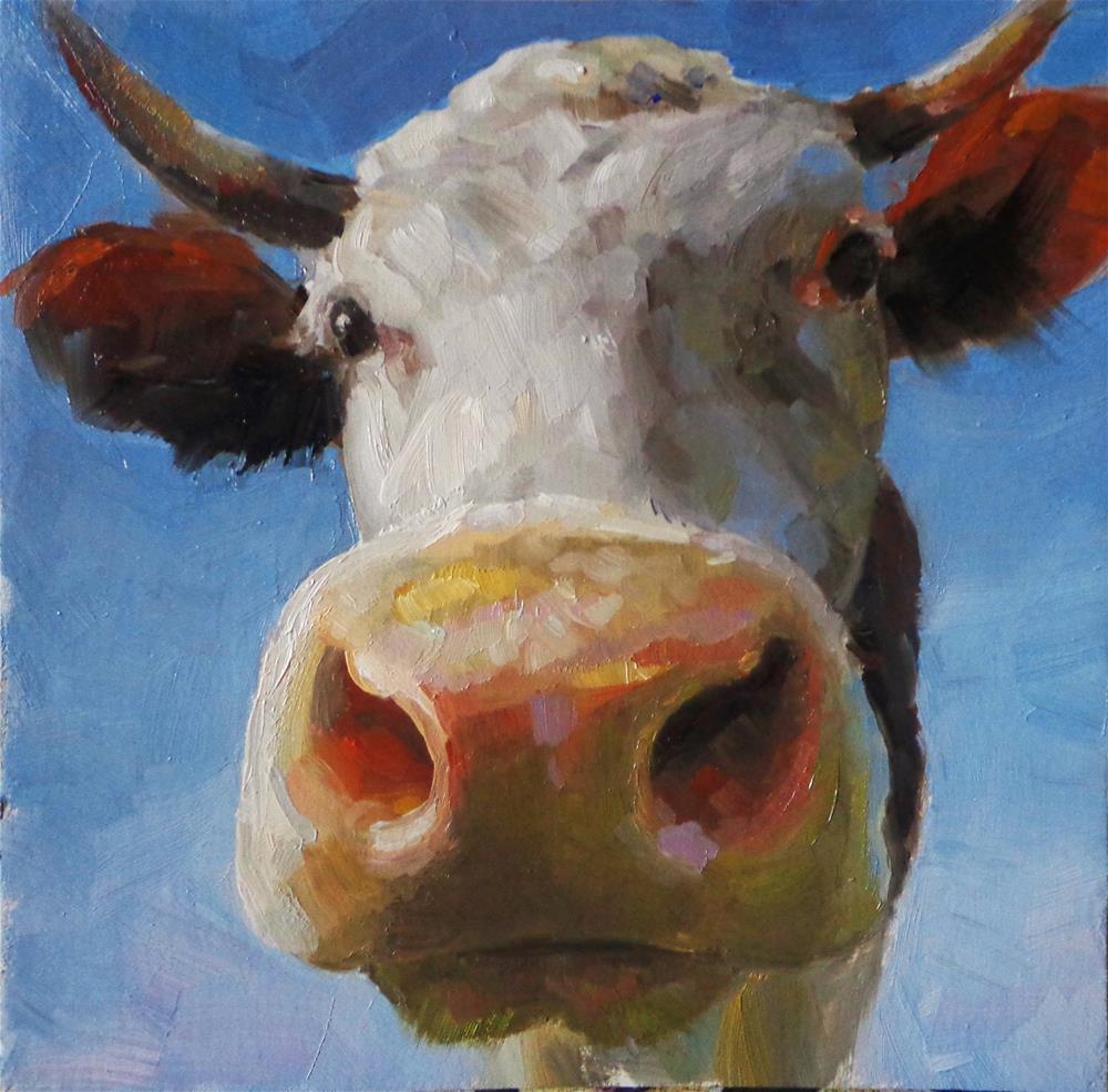 """Friendly cow"" original fine art by Maria Z."