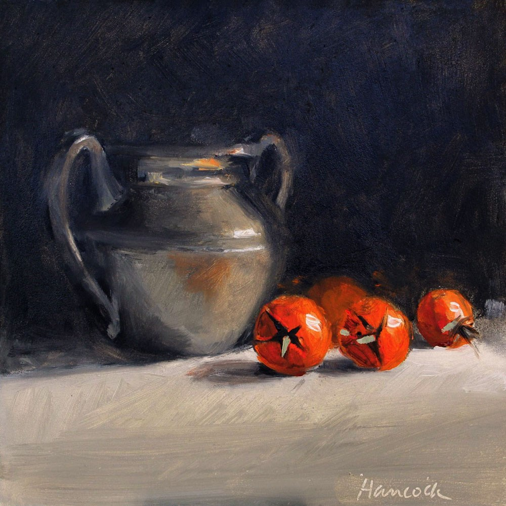 """""""Pewter Jug and Four Cherry Tomatoes"""" original fine art by Gretchen Hancock"""