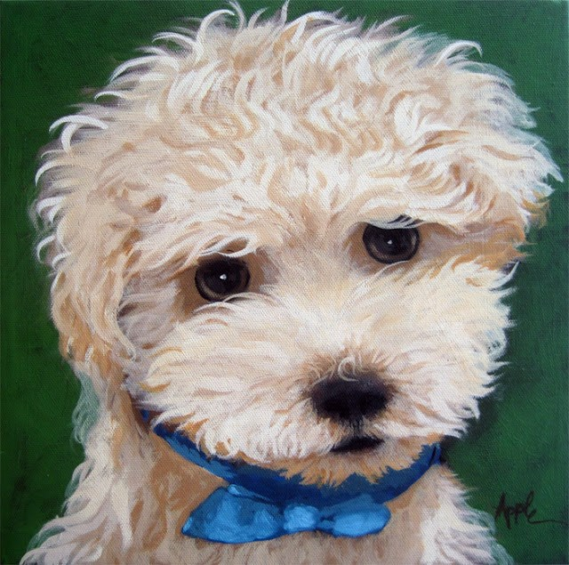 """Mosley - dog portrait commission"" original fine art by Linda Apple"