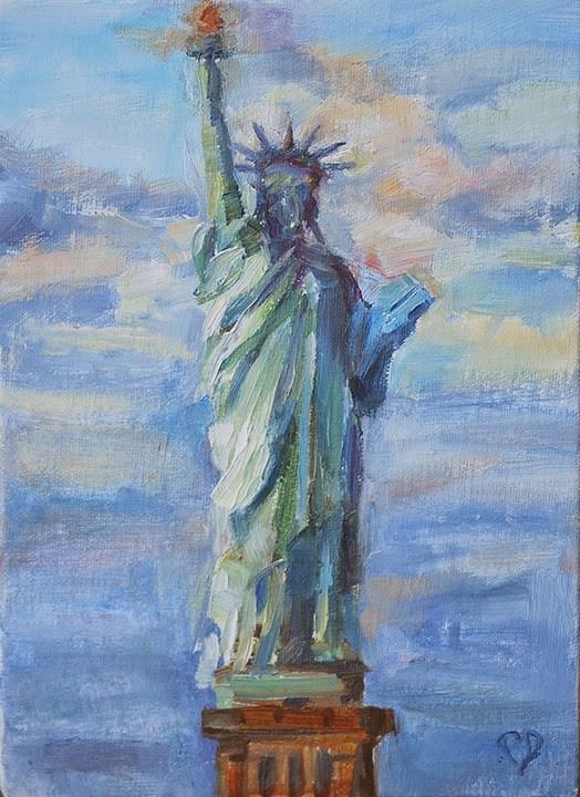"""Day 2- Lady Liberty"" original fine art by Carol DeMumbrum"