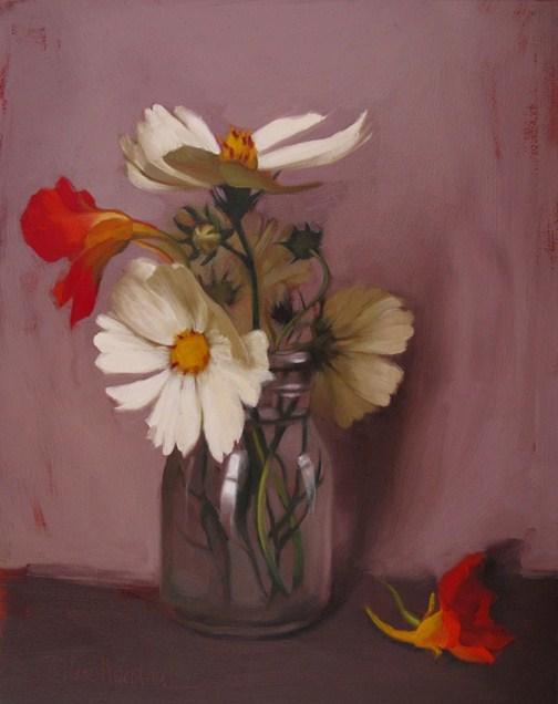 """Ivory Cosmos oil painting of wildflowers glass jar"" original fine art by Diane Hoeptner"