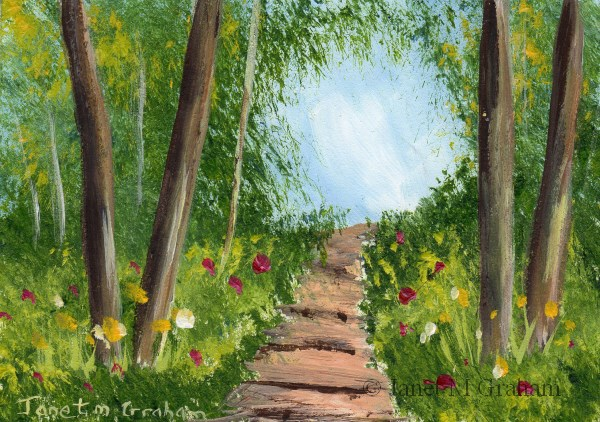 """""""Spring Path ACEO"""" original fine art by Janet Graham"""