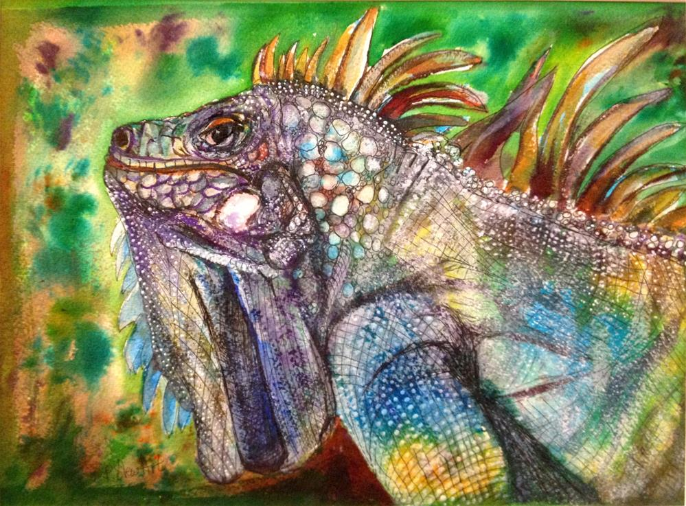 """9x12 Iguana Lizard Reptile Scales Colorful Mixed Media Painting Penny StewArt"" original fine art by Penny Lee StewArt"