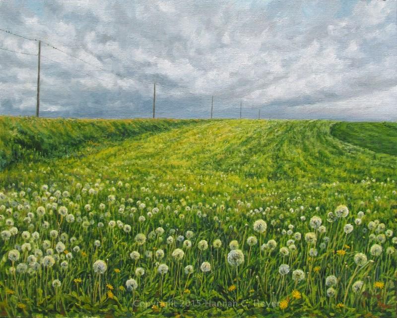 """Dandelion Clouds"" original fine art by Hannah C. Heyer"