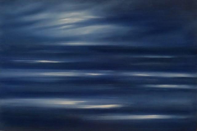 """Sailing Solo by Moonlight - Ocean Meditation"" original fine art by Anne Ducrot"