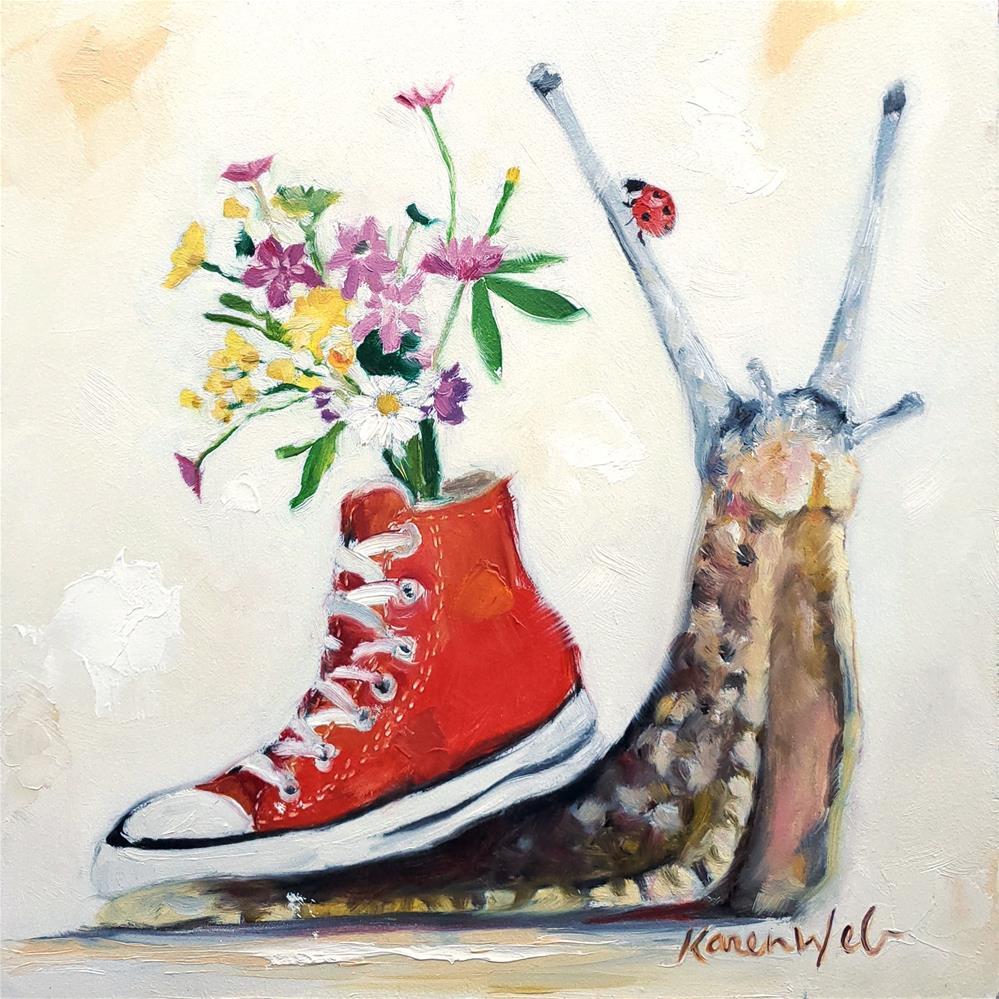 """""""Hi Top Snail Chuck (With Bouquet)"""" original fine art by Karen Weber"""