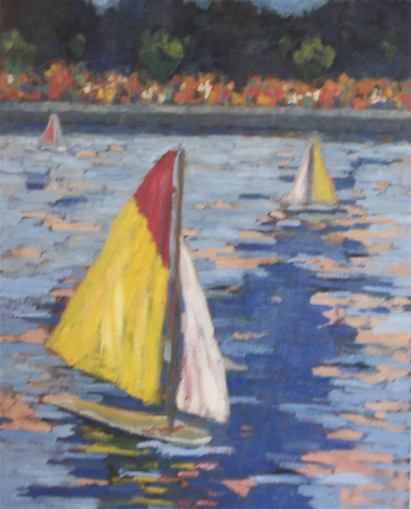 """Sailing Boats at Luxembourg Gardens"" original fine art by Katharine March"