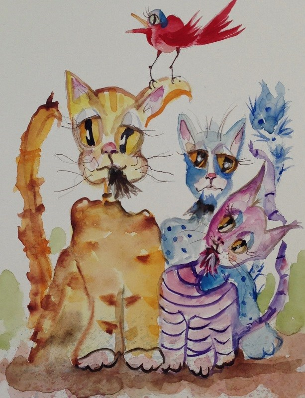 """""""Jazz Cats and Red Bird"""" original fine art by Delilah Smith"""