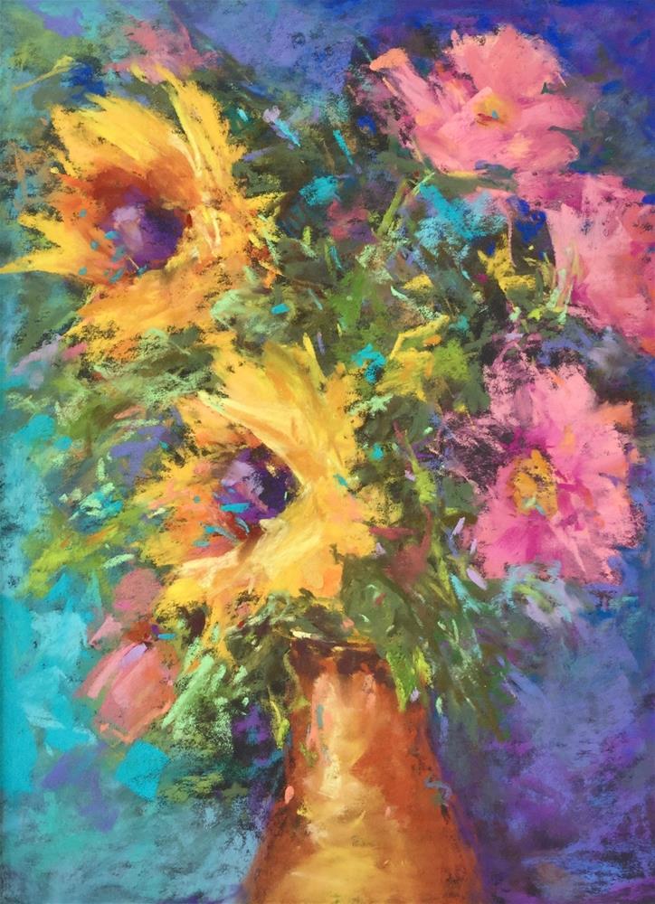 """""""Pastel  sunflower field meadow floral"""" original fine art by Alice Harpel"""