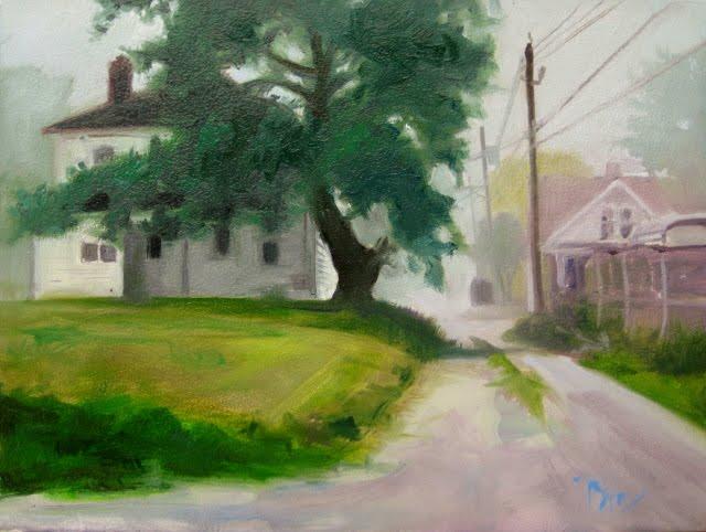 """Morning Fog   landscape oil painting , Lansing Ohio"" original fine art by Robin Weiss"