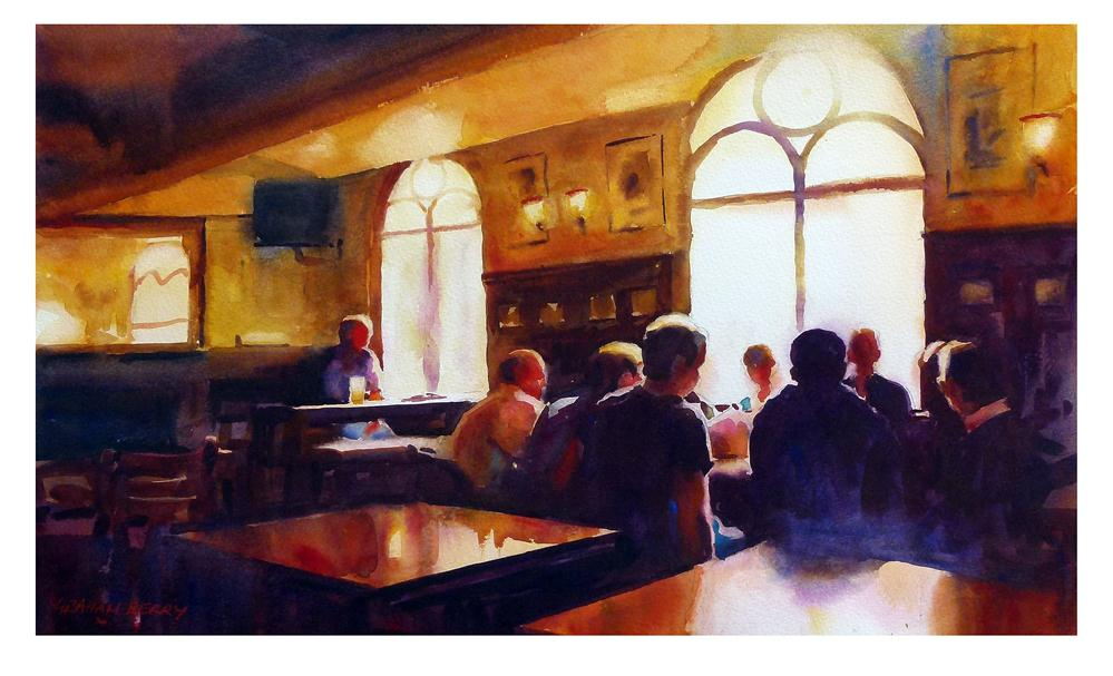 """""""Meeting in the pub"""" original fine art by Graham Berry"""