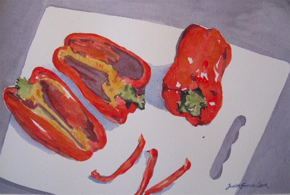 """Salad Prep"" original fine art by Judith Freeman Clark"