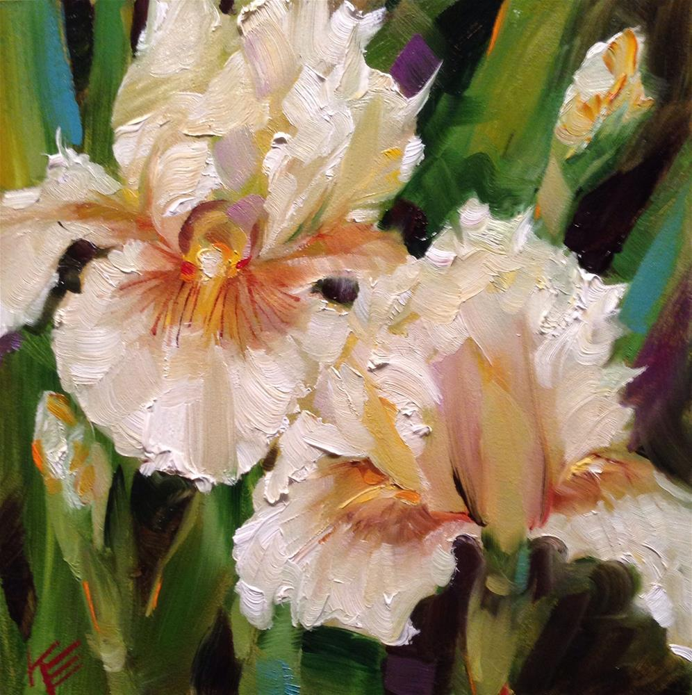 """Tall bearded white irises"" original fine art by Krista Eaton"