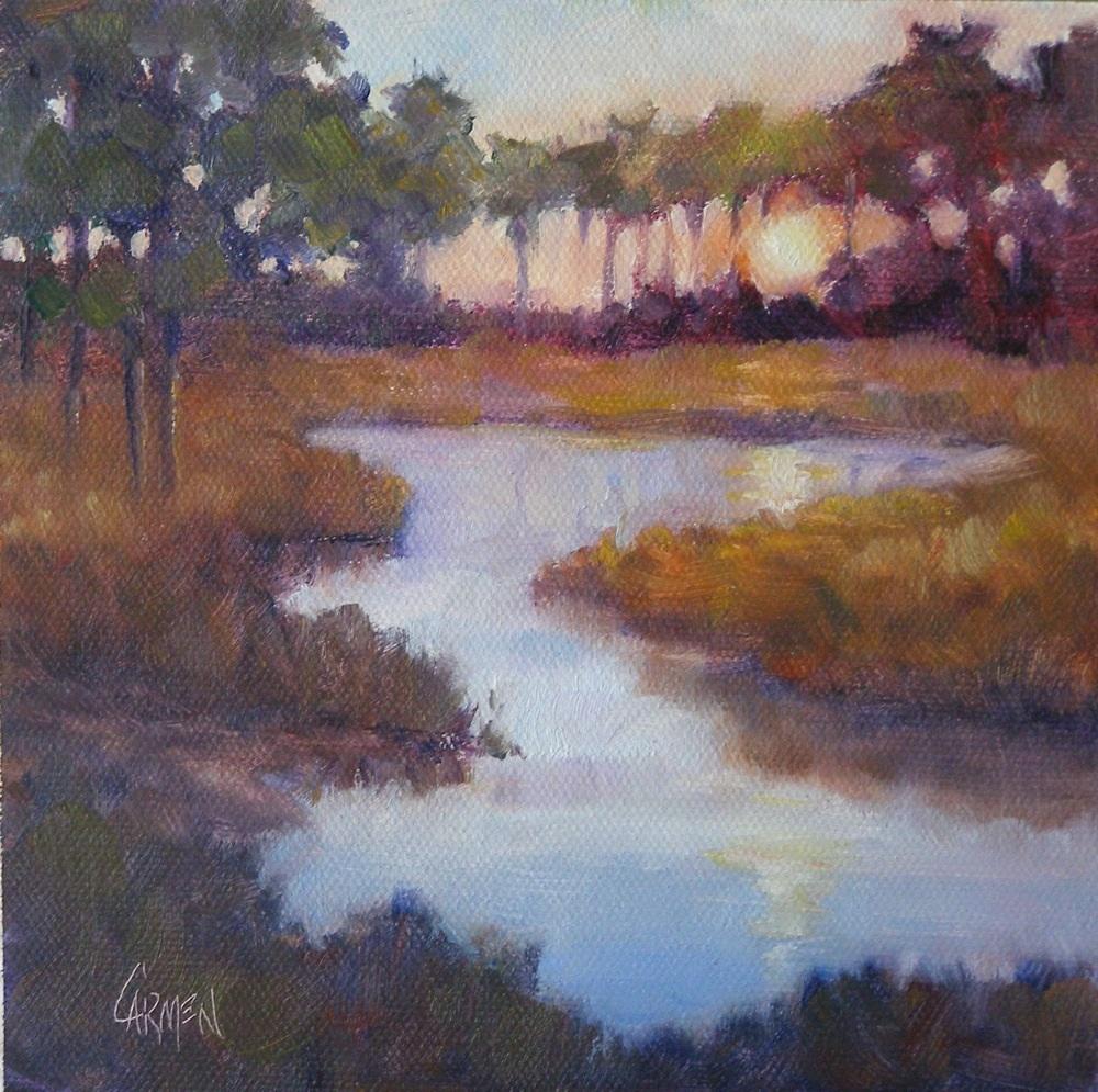 """""""Low Country Sunset, 6x6"""" original fine art by Carmen Beecher"""
