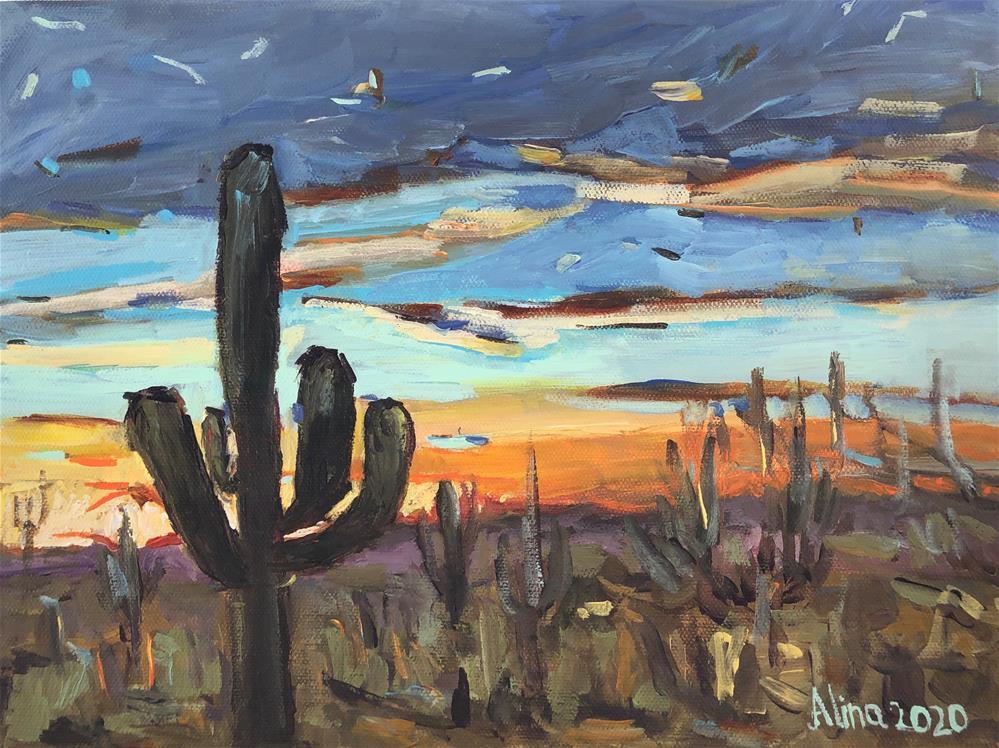 """Saguaro Cactus"" original fine art by Alina Vidulescu"