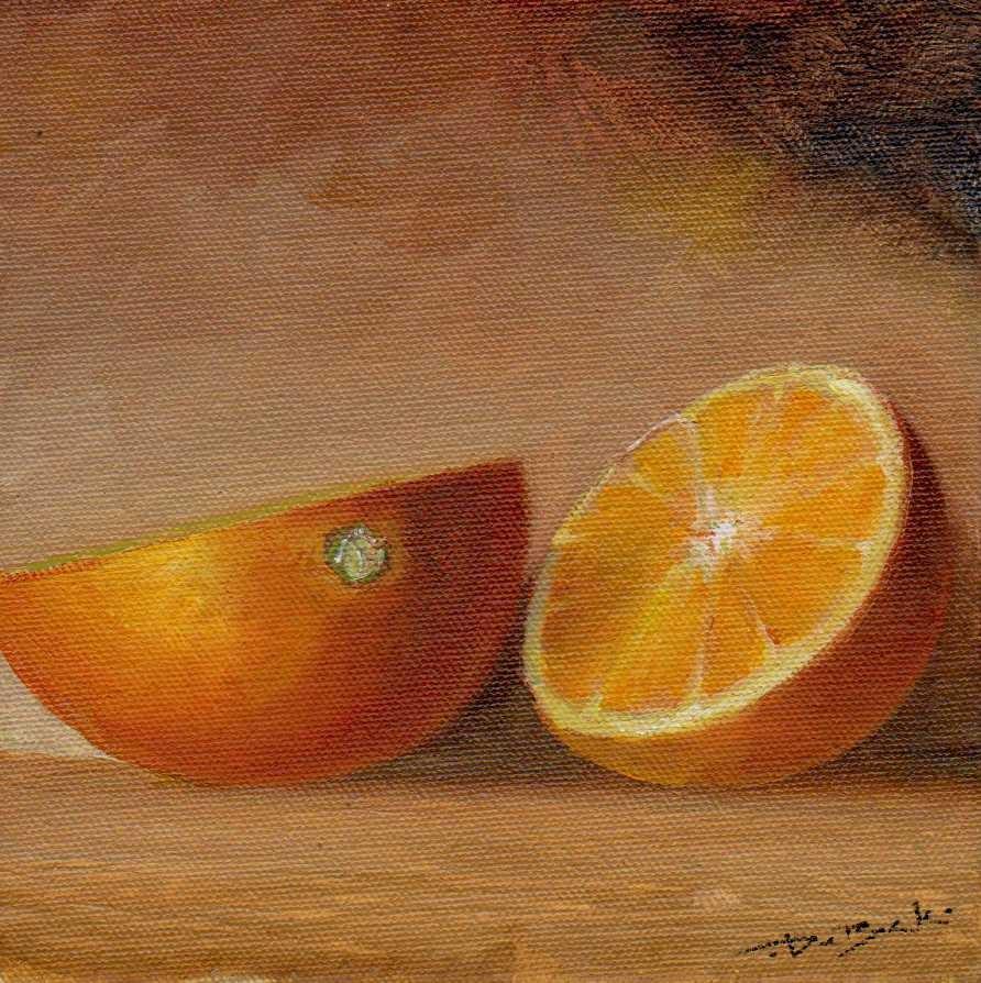 """""""Cut orange"""" original fine art by Mark DeBak"""