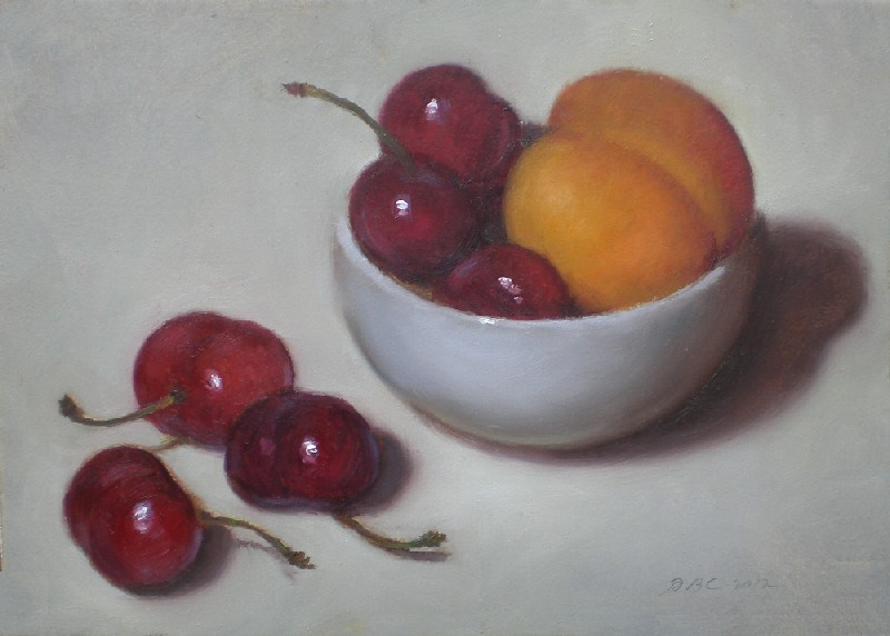 """Apricot and Cherries"" original fine art by Debra Becks Cooper"