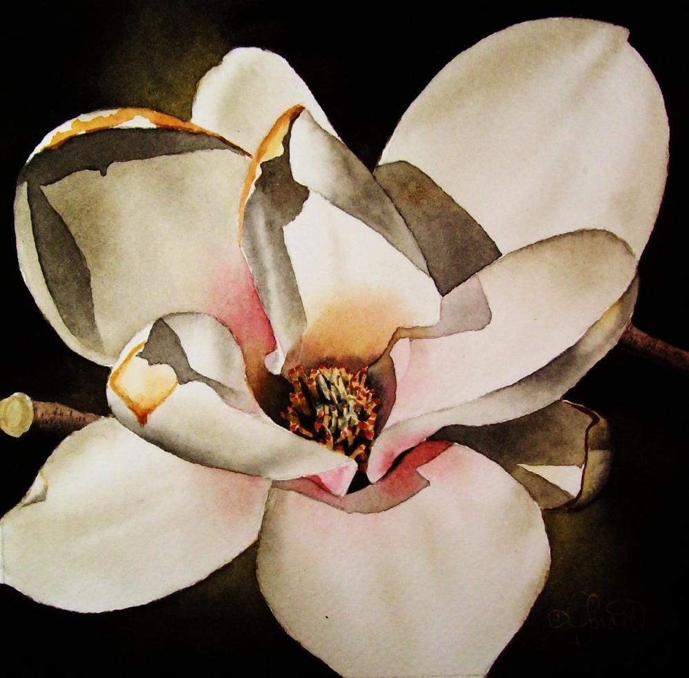 """Magnolia in Bloom"" original fine art by Jacqueline Gnott, TWSA, WHS"