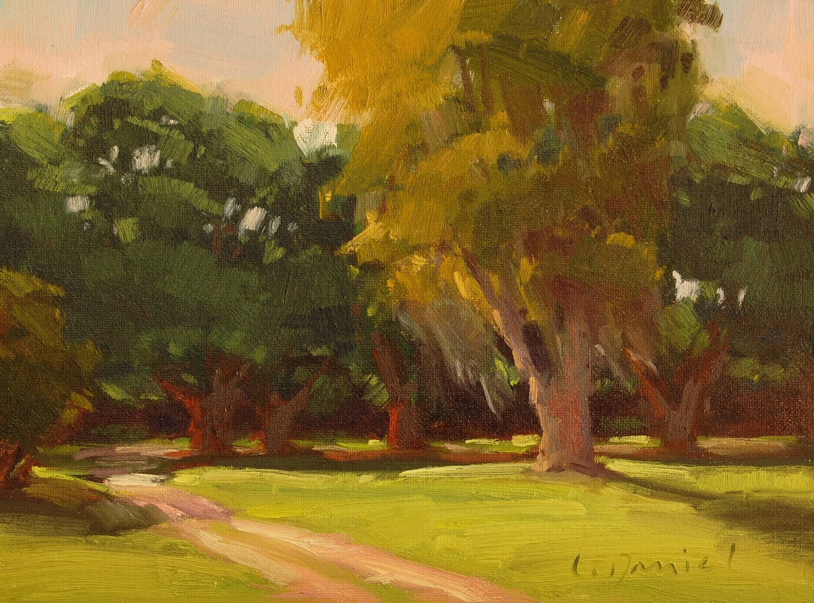 """Sylvan Glow - a study, a larger piece and a friend"" original fine art by Laurel Daniel"