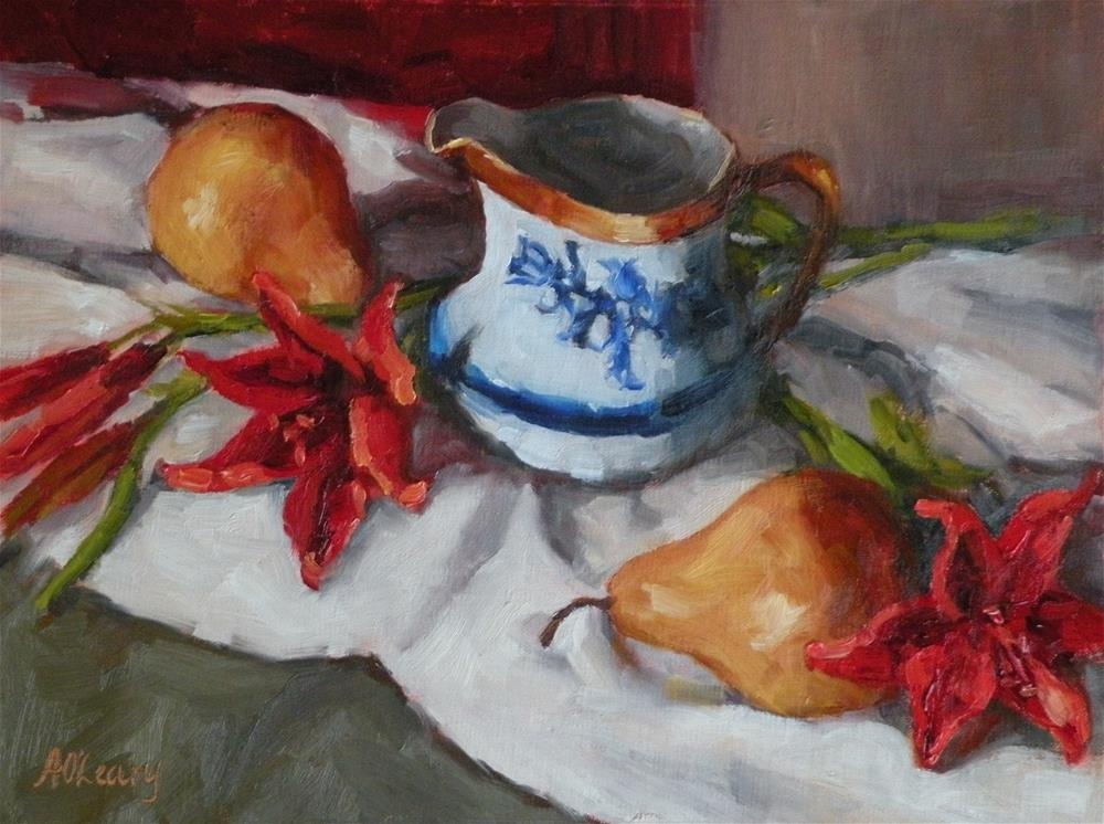 """""""Red Lilies with Pears"""" original fine art by Alice O'Leary"""