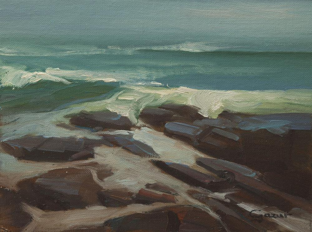 """San Simeon Rocks in Cambria 6x8"" original fine art by Pavel Gazur"